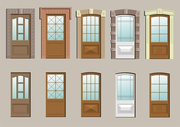 Деревянные двери в стене в векторной графике.