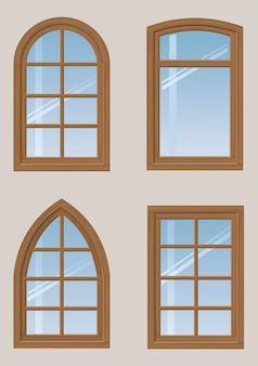 木製の窓のセット