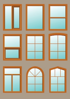 Деревянное окно в стене в векторной графике.