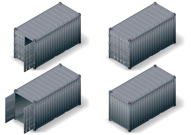 Набор изометрических грузовых контейнеров