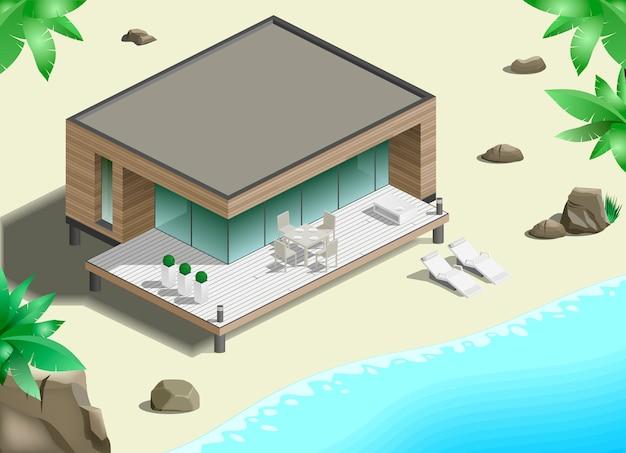 海岸に近代的なバンガロー