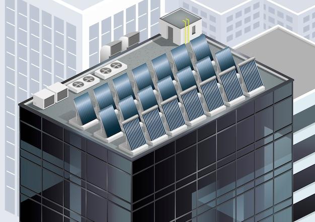 屋根の上の太陽電池パネル