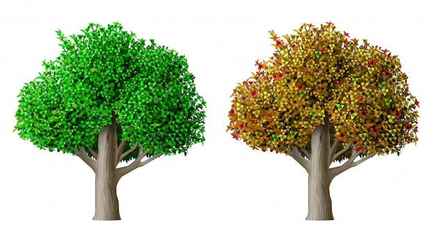 現実的なベクトルの木の夏と秋