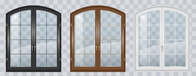 木製のアーチ型の窓
