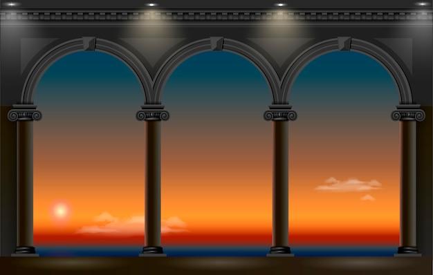 宮殿の夜のアーチ