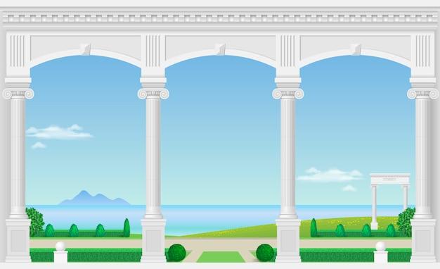 宮殿の白いアーチ
