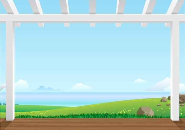 緑の丘のある風景