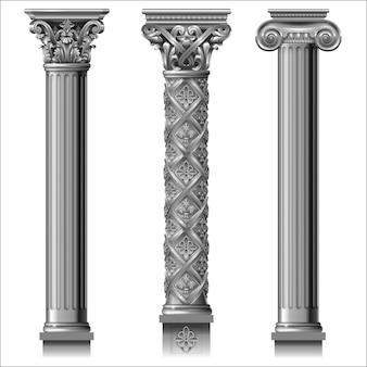 古典的な銀の柱のセット
