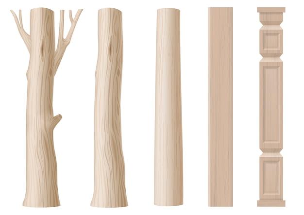 木の柱のセット