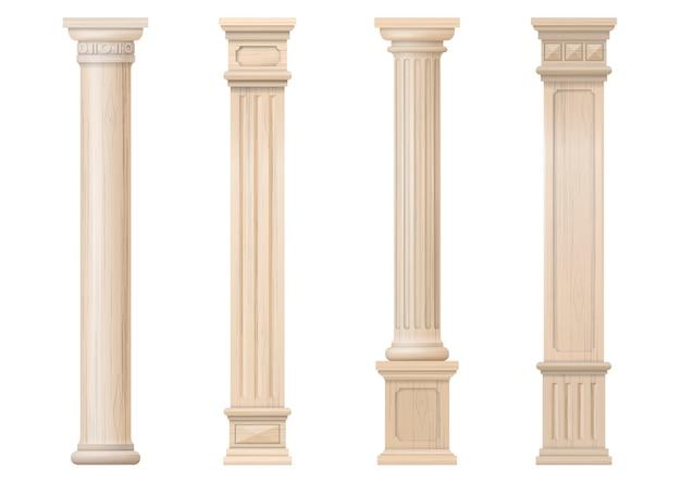 ベクトルの古典的な木製の柱のセット