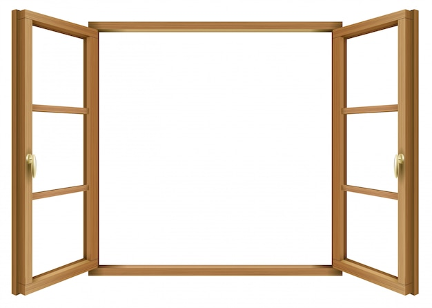木製のクラシックヴィンテージオープンウィンドウ