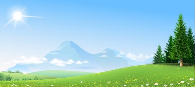 Пейзаж зеленые холмы горы лес