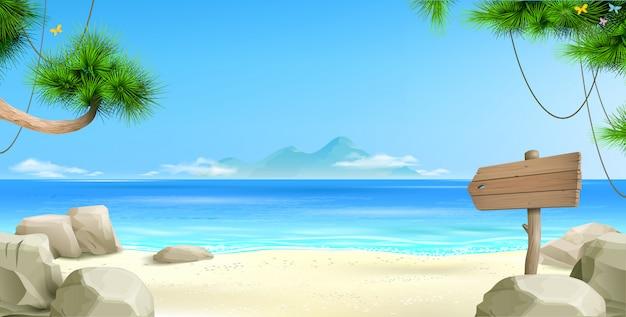 Широкий тропический пляж фон