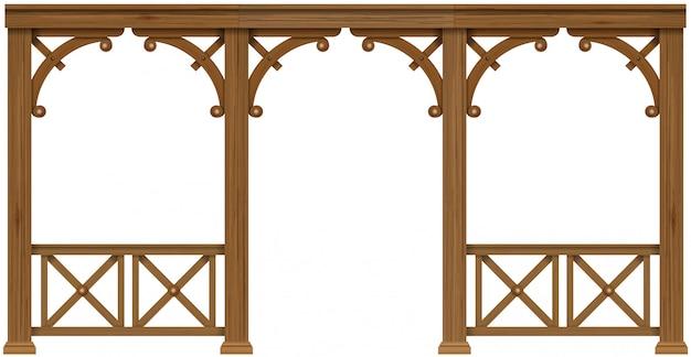 アーケード古い植民地時代の木製ベランダ