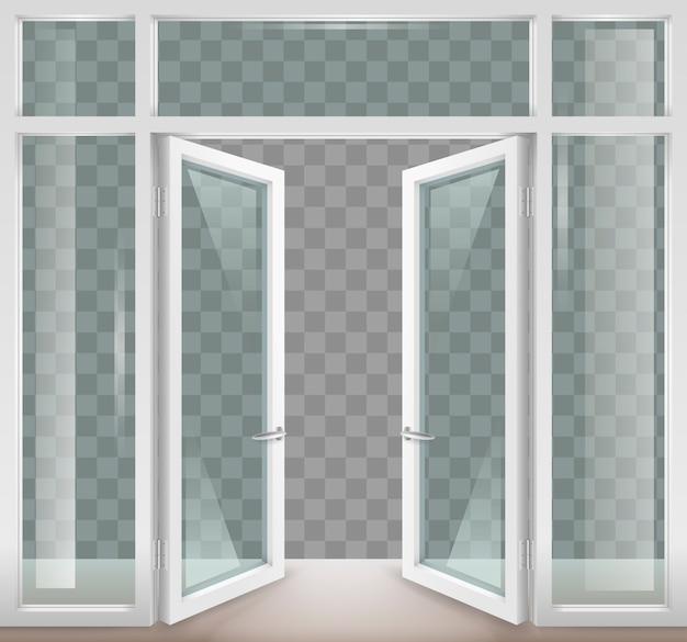 Белые открытые двери