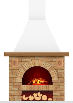 古代のレンガの暖炉
