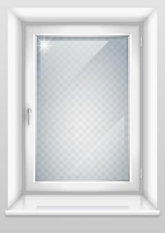 Белое окно с прозрачным стеклом