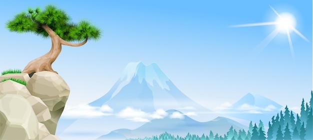 崖の上の山の松