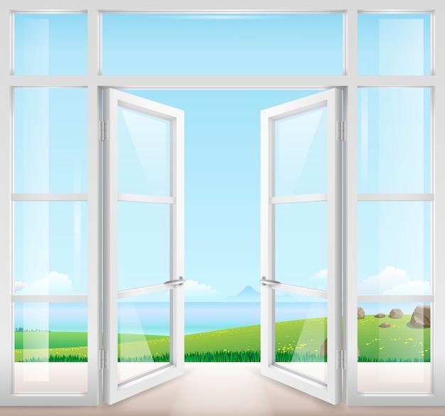 テラスへの窓付きドア