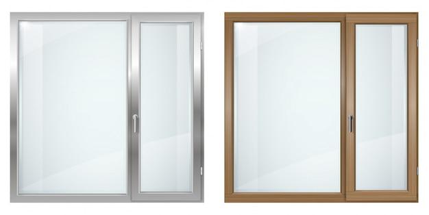 モダンな木製と灰色のプラスチック製の広い窓