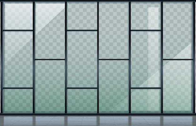 透明なガラス張りのモダンな建物のファサード