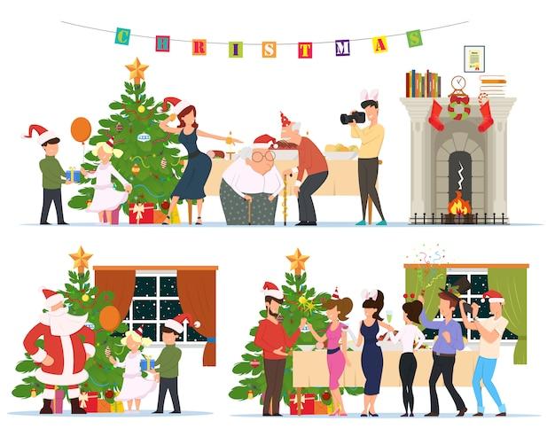 家で一緒にクリスマスを祝う人々。