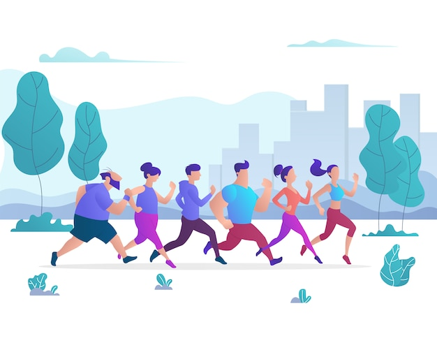Группа людей, бегущих в городском общественном парке