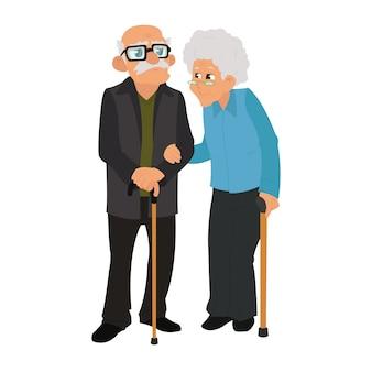 愛の年配のカップル。白い背景の上に一緒に立っている年配のカップル。幸せな老夫婦。