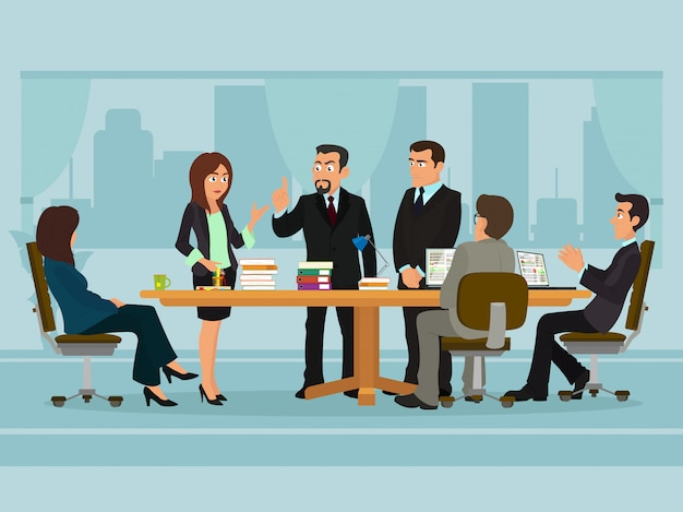 Встреча деловых людей, обсуждающих рабочий стол