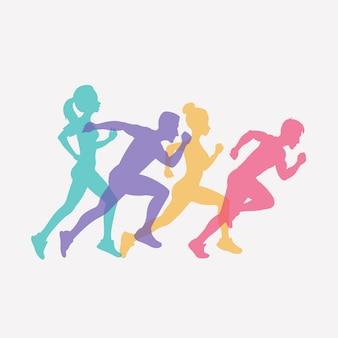 Бегущие люди набор силуэтов, спорта и деятельности фоне