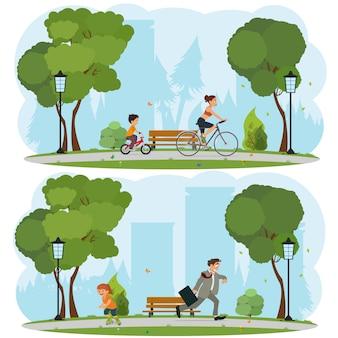 都市公園の周りの自転車に乗って女性と子供