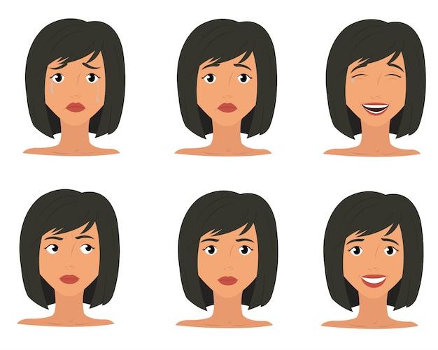 Значки выражения эмоций женщины