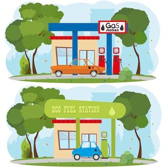 エネルギーとガソリンスタンド。都市景観。