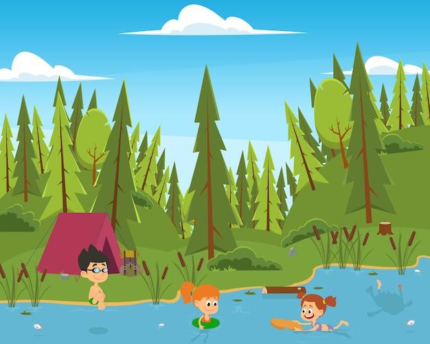 Юноши и девушки купаются в реке.