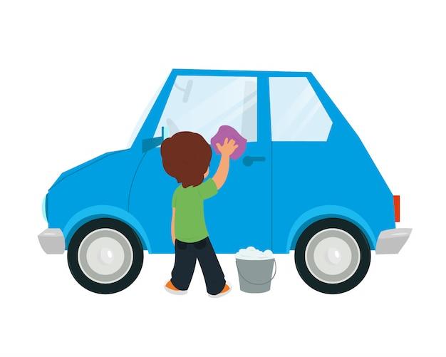 子供たちが車を洗う