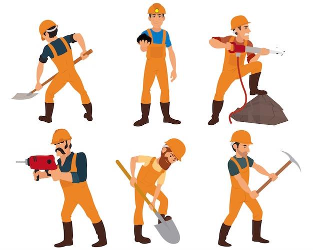 白い背景に分離された六つの鉱山労働者。
