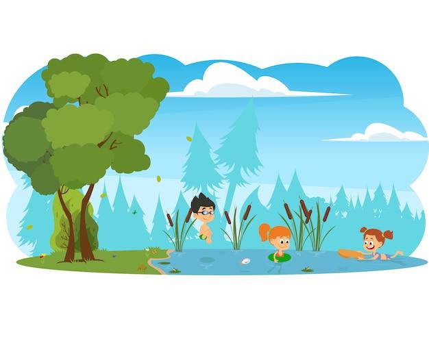少年は川に飛び込みます。