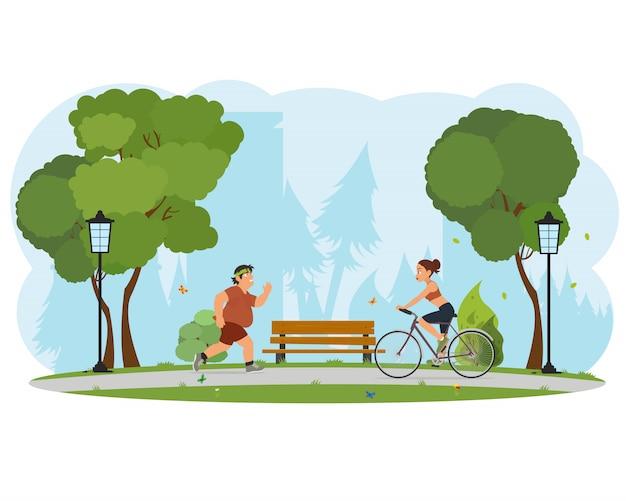 Люди занимаются в спортивном городском парке.
