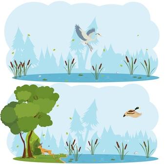 自然シーン。生きている鳥のいる湖と沼