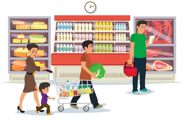 ショッピングモールのコンセプトで買い物をする人。