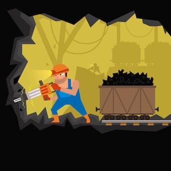 Шахтер работает в шахте. добыча угля. тяжелая мужская работа под землей.