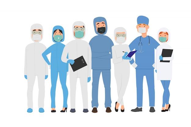 Детальная иллюстрация доктора и медсестер в защитном костюме и маски в плоском стиле.