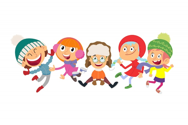 Маленькие дети прыгают и наслаждаются в зимней одежде.