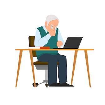 社会的概念-コンピューターを使用している老人。