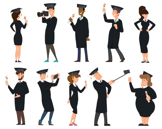 卒業証書を持つ卒業生のグループ