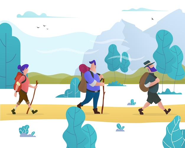 Группа людей с рюкзаками отправляется в поход по лесу и горам.