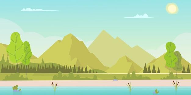 夜明けの山の風景