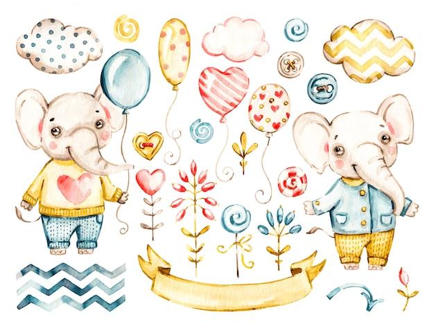 Милый слоненок, мальчик. акварель питомник мультфильмов джунглей животных, милые облака, воздушные шары. набор очаровательных сафари