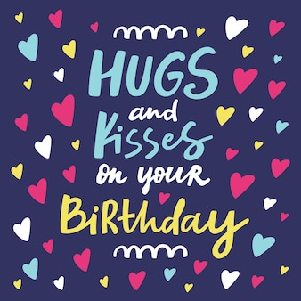 あなたの誕生日グリーティングカードの抱擁とキス