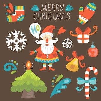 サンタとクリスマスセット